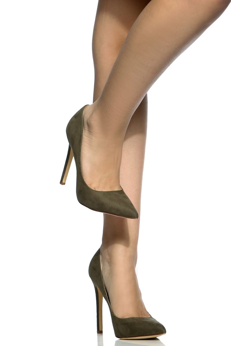 d3860265aea9 Olive Faux Suede Pointy Toe Classic Pumps   Cicihot Heel Shoes online store  sales Stiletto Heel Shoes