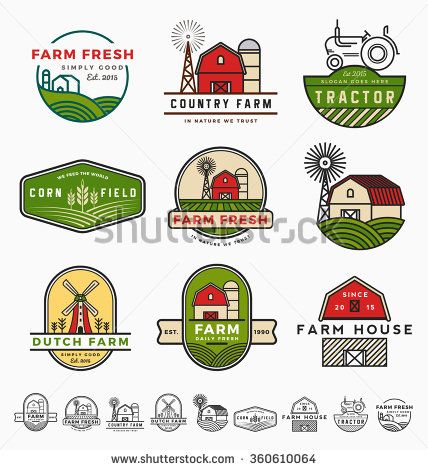 Vintage modern farm logo template design Vector illustration RR - fresh invitation template vector