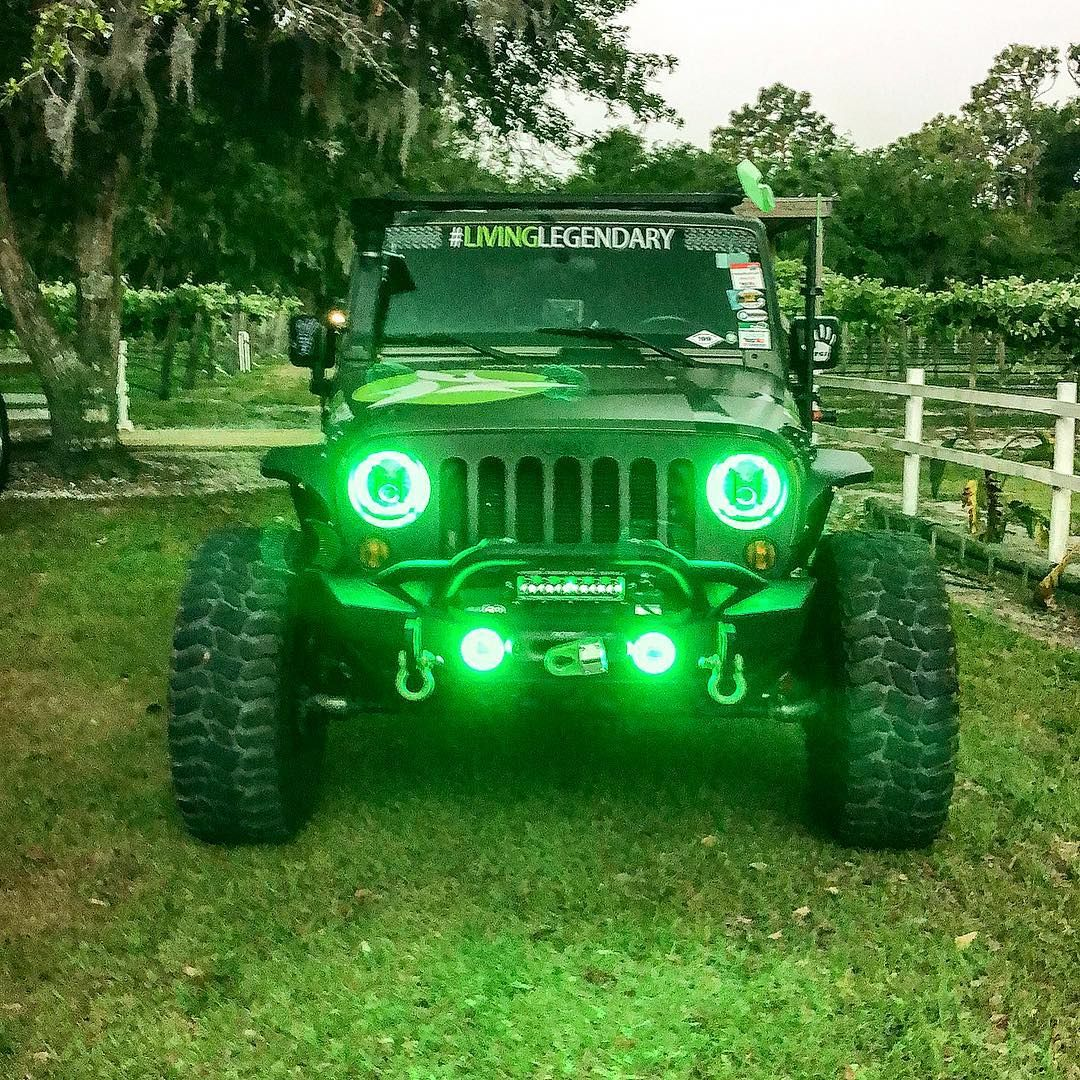 Going Green With Led Halo Headlights For Jeeps Jeep Wrangler Headlights Jeep Wrangler Jeep