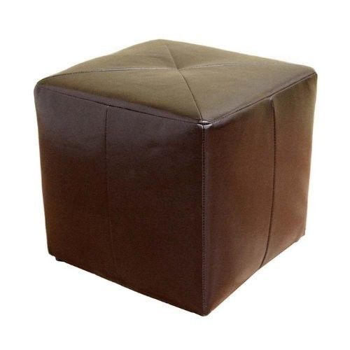 Cube Shaped Brown Bonded Leather Ottoman Sofa Recliner