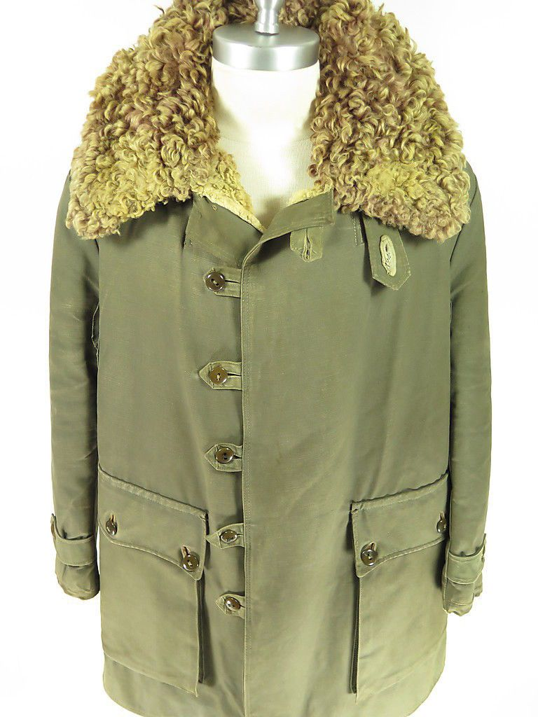 a91f3f48819 Vtg 40s Swedish M1909 Army Parka Coat Mats Larsson Canvas Curly Sheepskin  WWII L