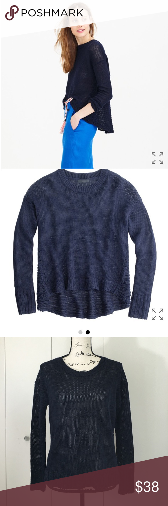 J.Crew textured beach sweater navy blue oversized | Beach sweater ...