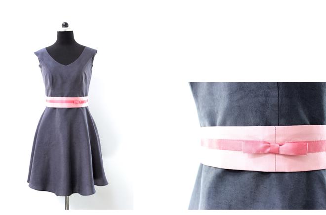 Brautkleid Mila von noni, eingefärbt in anthrazit mit Gürtel in Rosa (www.noni-mode.de)