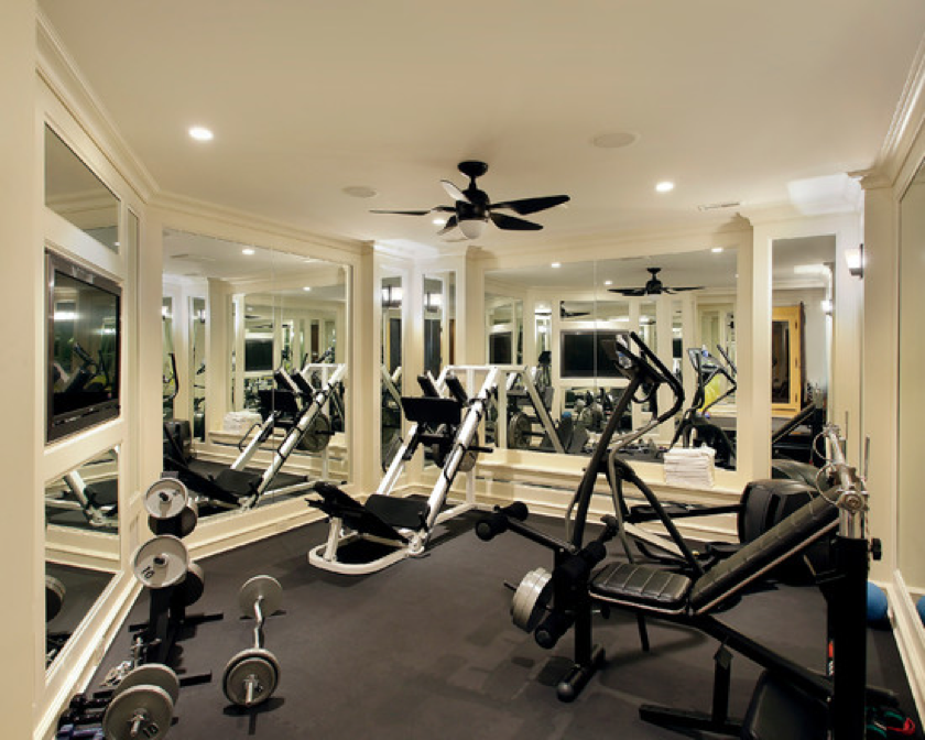 home gym idea love the mirrors everywhere house ideas for my sis pinterest gym. Black Bedroom Furniture Sets. Home Design Ideas