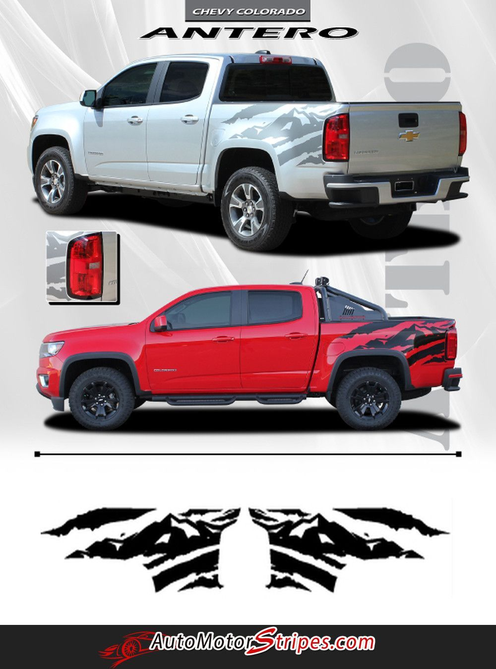 2015 2020 Chevy Colorado Antero Rear Side Truck Bed Mountain Scene Accent Vinyl Graphics 3m Stripes Kit Chevy Trucks Chevy Chevy Colorado