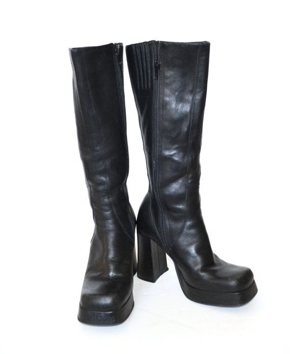 4827752cff32 Vintage 90s Boots Black Platform Boots Chunky Heel Black Tall Leather Boot  Rave Club Kid Grunge Goth Zip Up Boot Size 6B
