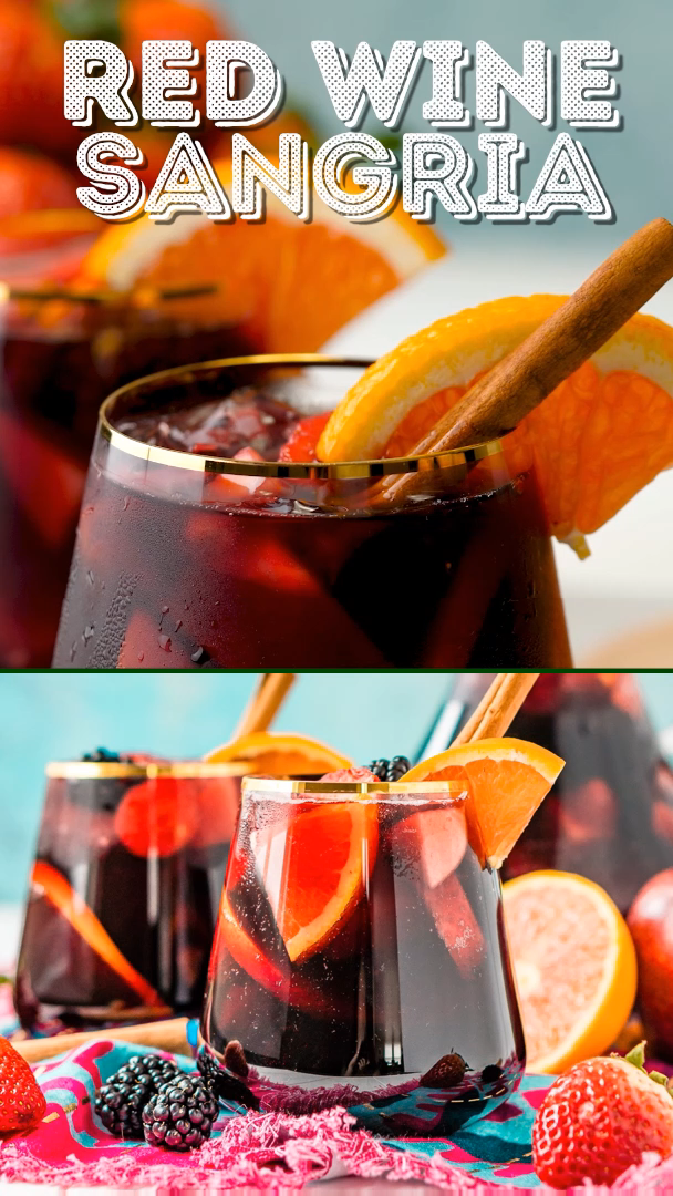 Red Wine Sangria isn't overly sweet and is a delicious big batch cocktail the whole party will love!