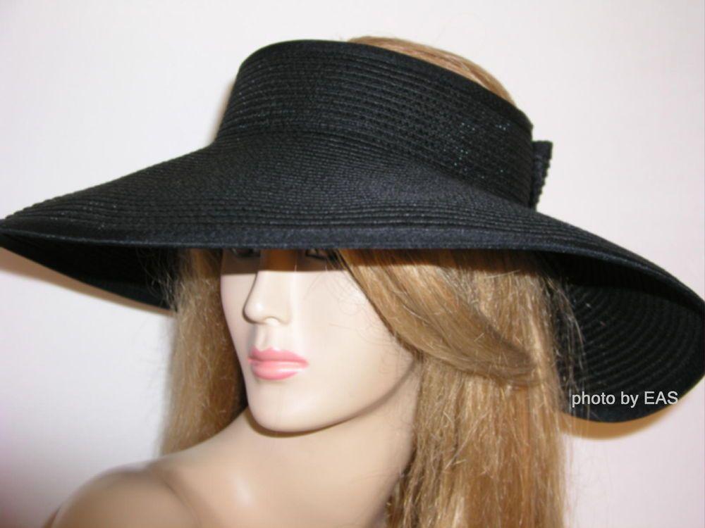 73afe7ba Is it a hat or a visor? top of head still exposed. Ladies Sun Visor Hat  Black Wide Large Brim Packable Roll Up VI-14-409 $13.97