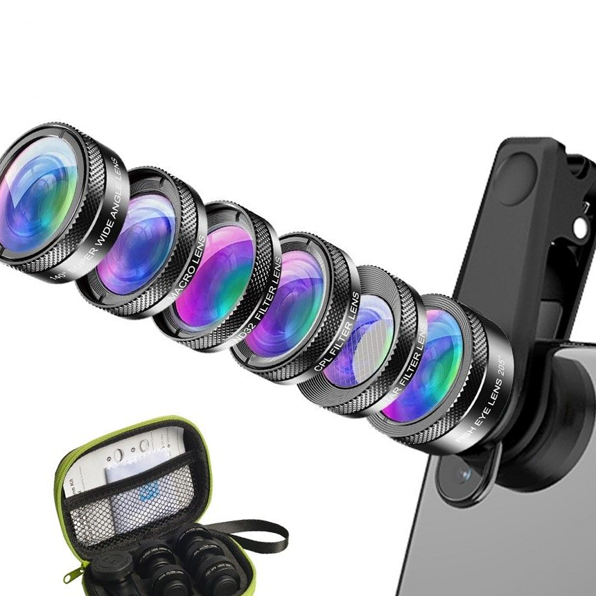Universal 3in1 Lens Kit with Bluetooth Remote Control Camera Shutter 12x Telephoto Awesome Mobile Photography for Apple iPhone - Adjustable Tripod Macro Samsung Galaxy etc Wide Angle Lenses