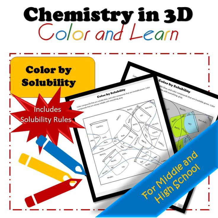 Color by Solubility High school chemistry, Chemistry