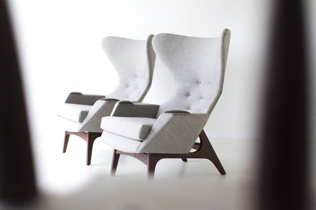 Craft Associates Modern Wingback Chairs 1407 In Grey Wool