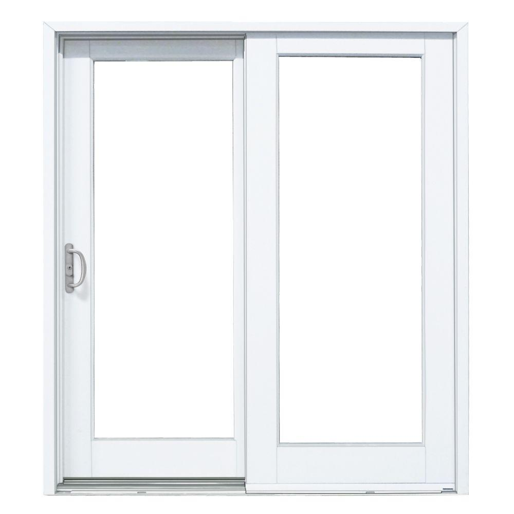 Mp Doors 60 In X 80 In Smooth White Left Hand Composite Sliding Patio Door G5068l00201 The Home Depot Sliding Patio Doors Patio Doors Sliding Glass Door