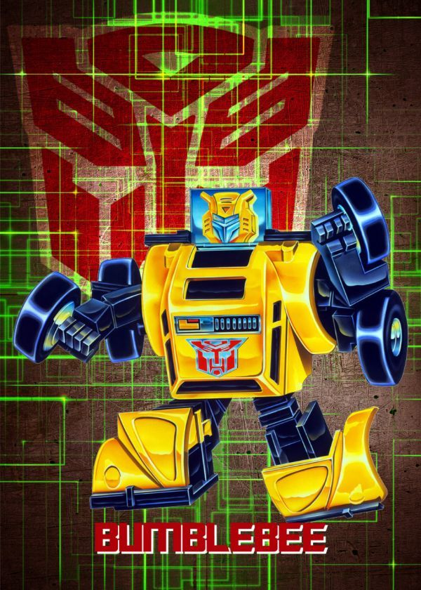 "Transformers G1 Autobots Bumblebee #Displate artwork by artist ""Wiebes"". Part of a set featuring… 