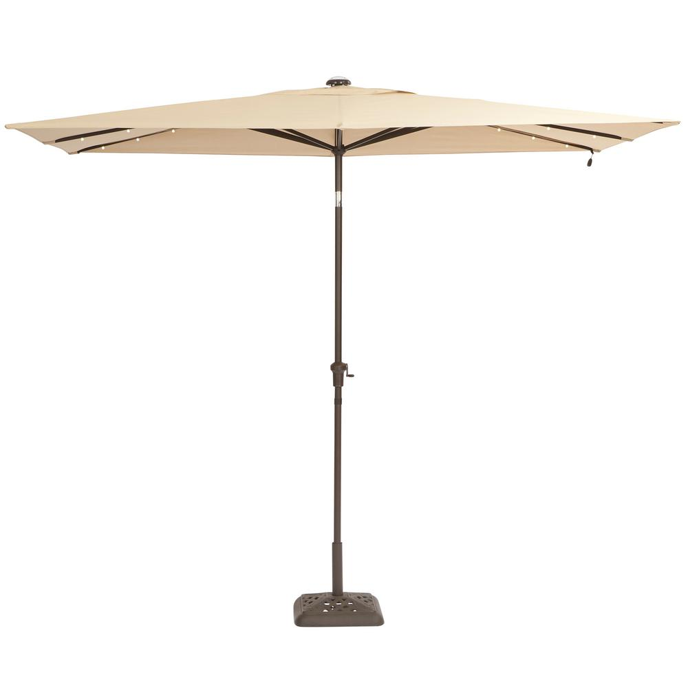 Hampton Bay 10 Ft X 6 Ft Aluminum Solar Outdoor Patio Umbrella In Cafe Tan Yjauc 171 Rc2 Patio Rectangular Patio Umbrella Large Patio Umbrellas