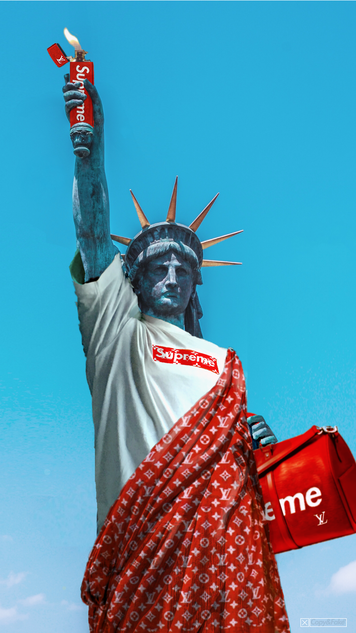 Supreme X Lv Collaboration Memorial The Statue Of Liberty Is A