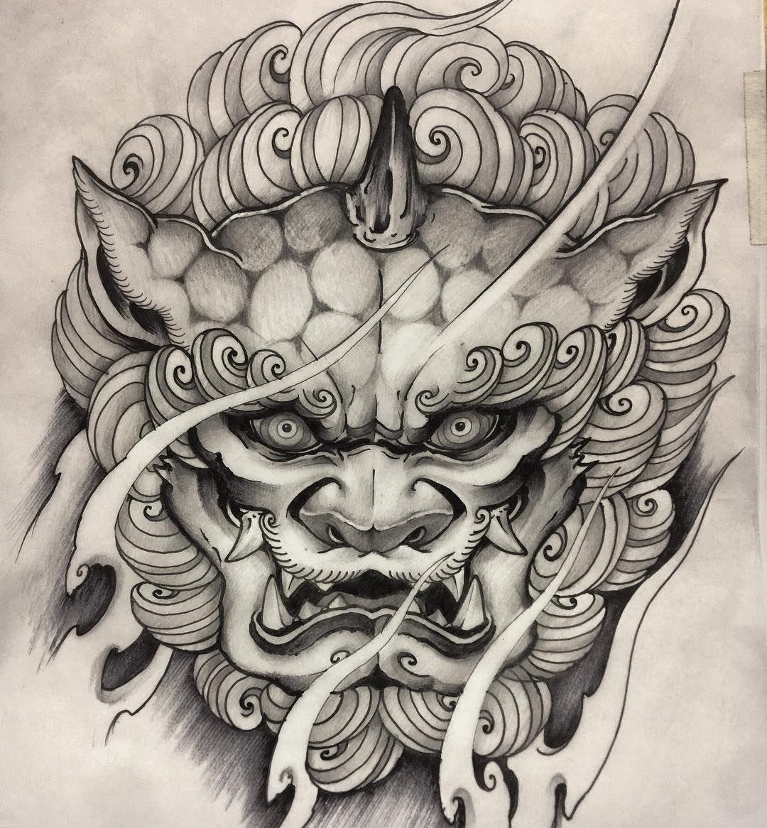 Japanese Foo Dog Tattoo Design