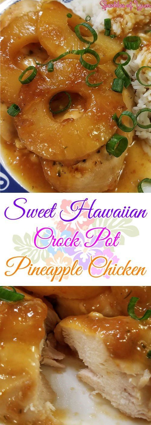 Sweet Hawaiian Crock Pot Pineapple Chicken Talk about yum! Sweet, tangy, juicy! This Sweet Hawaiian Crock Pot Pineapple Chicken hits all the taste buds just right. Perfect for a hot summer day.