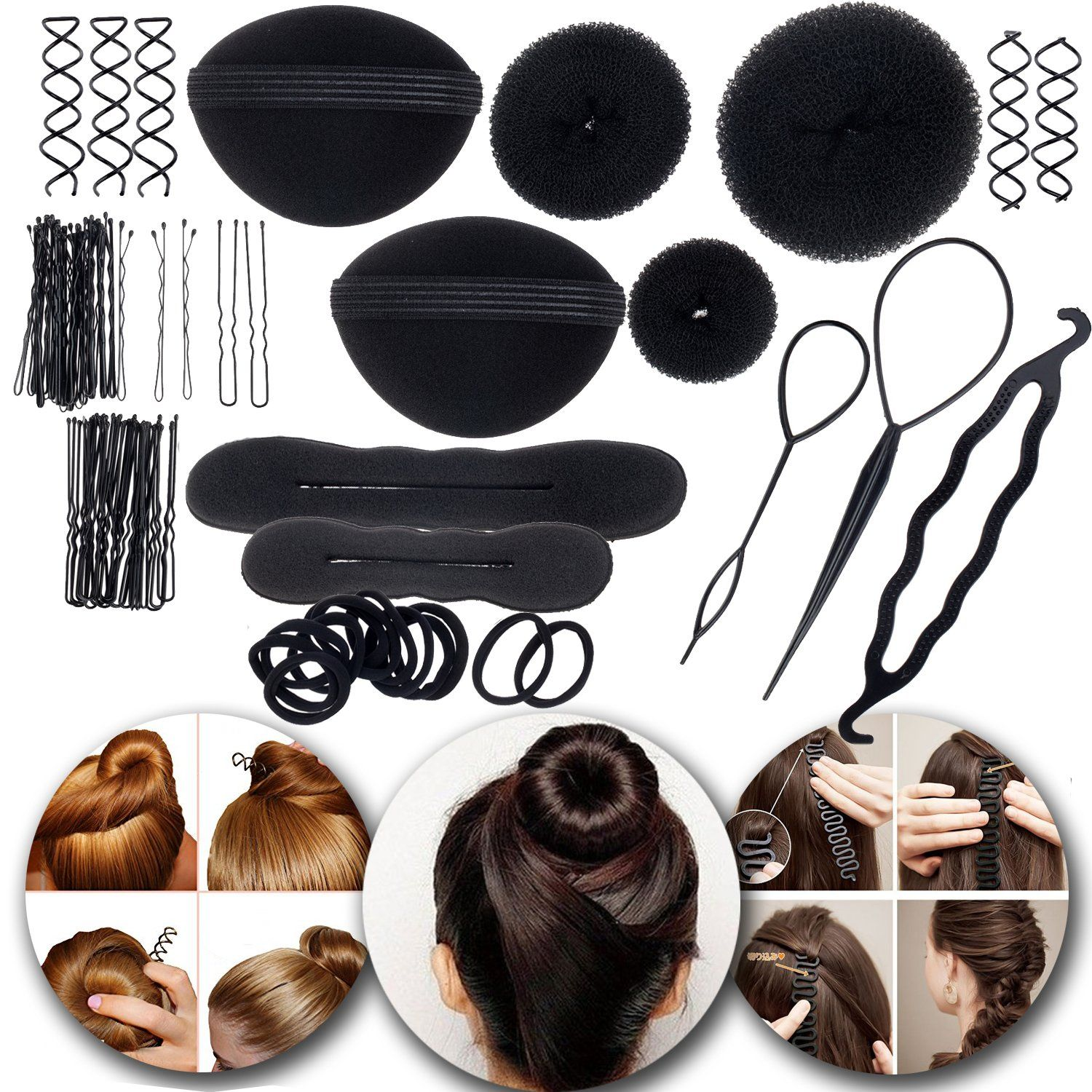 Hair Styling Hairstyling Set Kit Of Bun Makers Formers Doughnuts Twisters Donuts Twisting Tools Volume Bases Brai Hair Accessories Ponytail Holders Hair Band