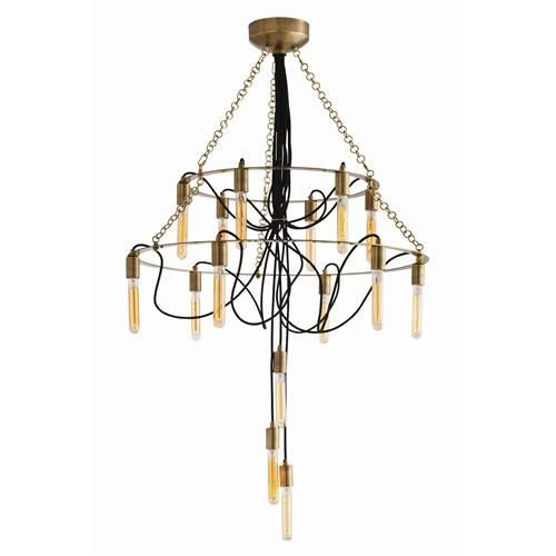 Currey And Company Lucien: Arteriors Winston 15L Metal Fabric Cord Chandelier