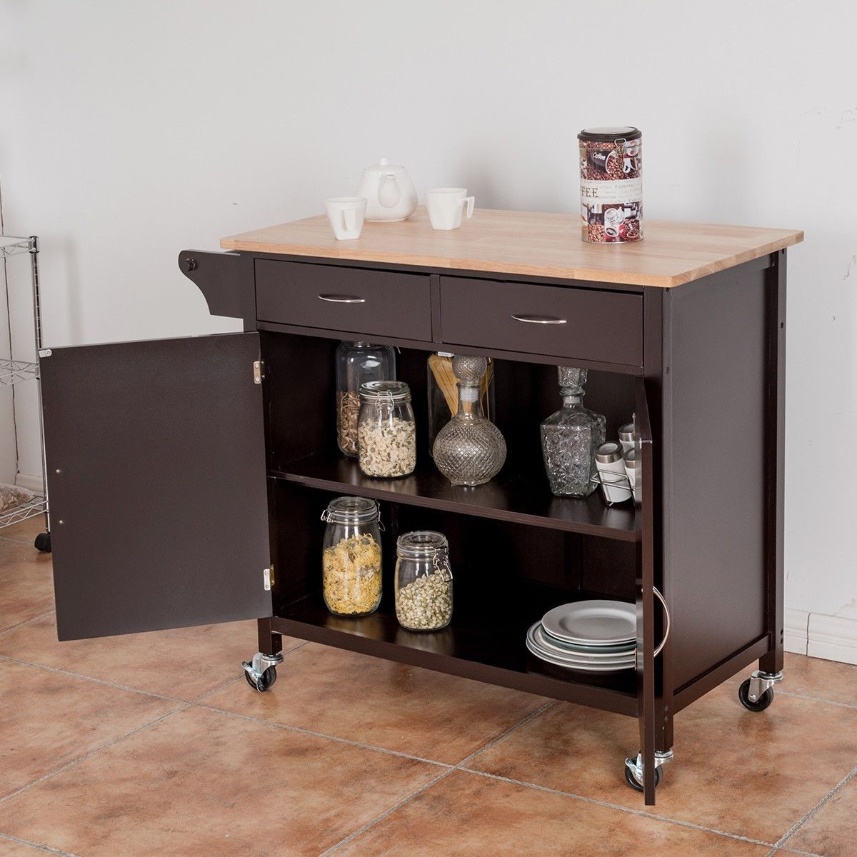 Modern Rolling Kitchen Cart Island With Wooden Top Kitchen Cart