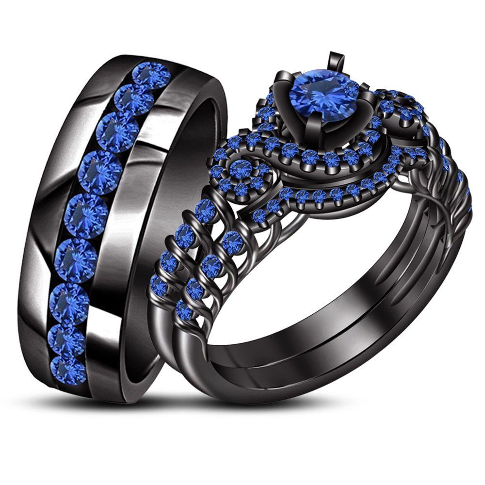 Fashion Women 925 Silver Black Gold Circular Sapphire Claddagh Ring Set Wedding