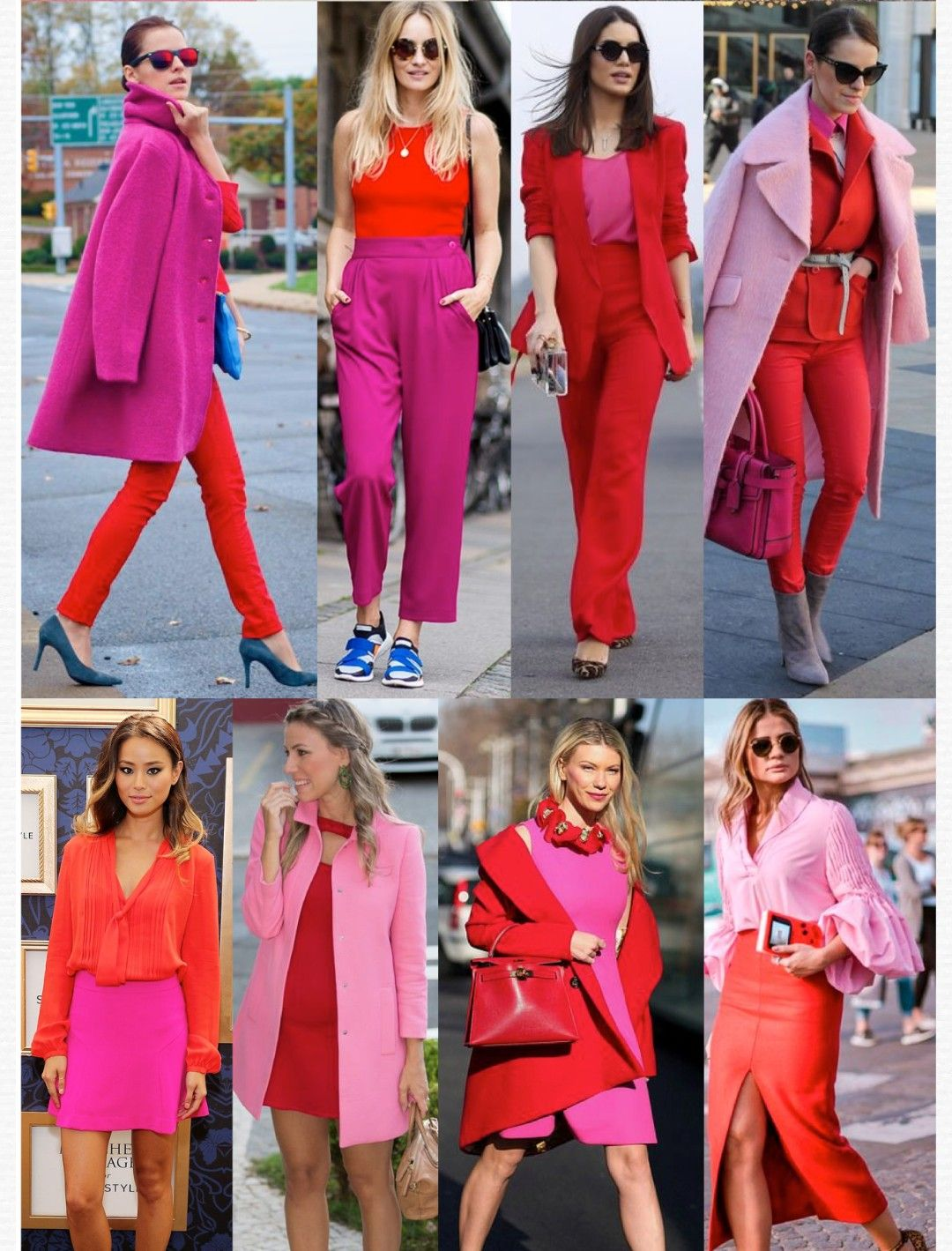 Red and pink color blocking. Loving each look from casual