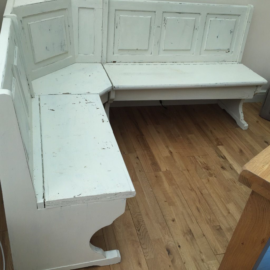 Corner Wooden Church Pew For Sale Has Been Painted And Sanded To
