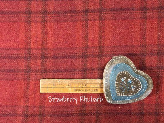 info x feltratura Rabarbaro fragola ~ tessuto in lana per Rug Hooking, Applique, Quilting e altro ancora