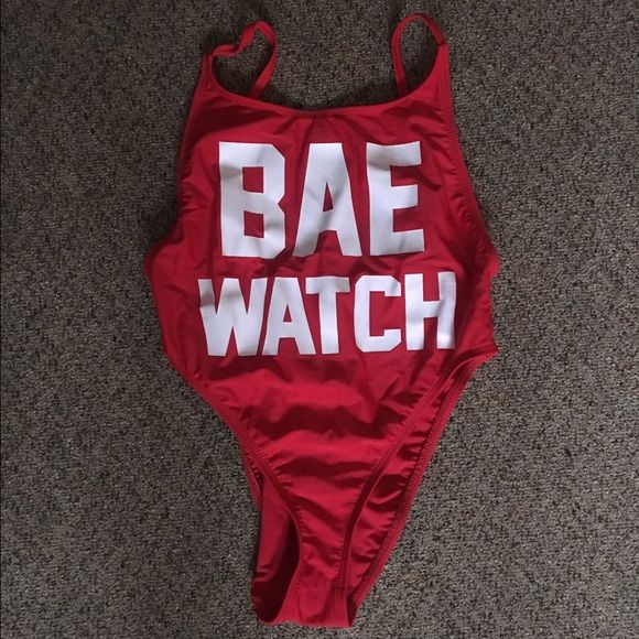 """BAE WATCH Red Swimsuit New with tags still attached """"Bae Watch"""" Swim Suit (Size Medium but can fit small). Very comparable to Beach Riot's! Brand is """"Dippin Daisys"""" Beach Riot Swim One Pieces"""