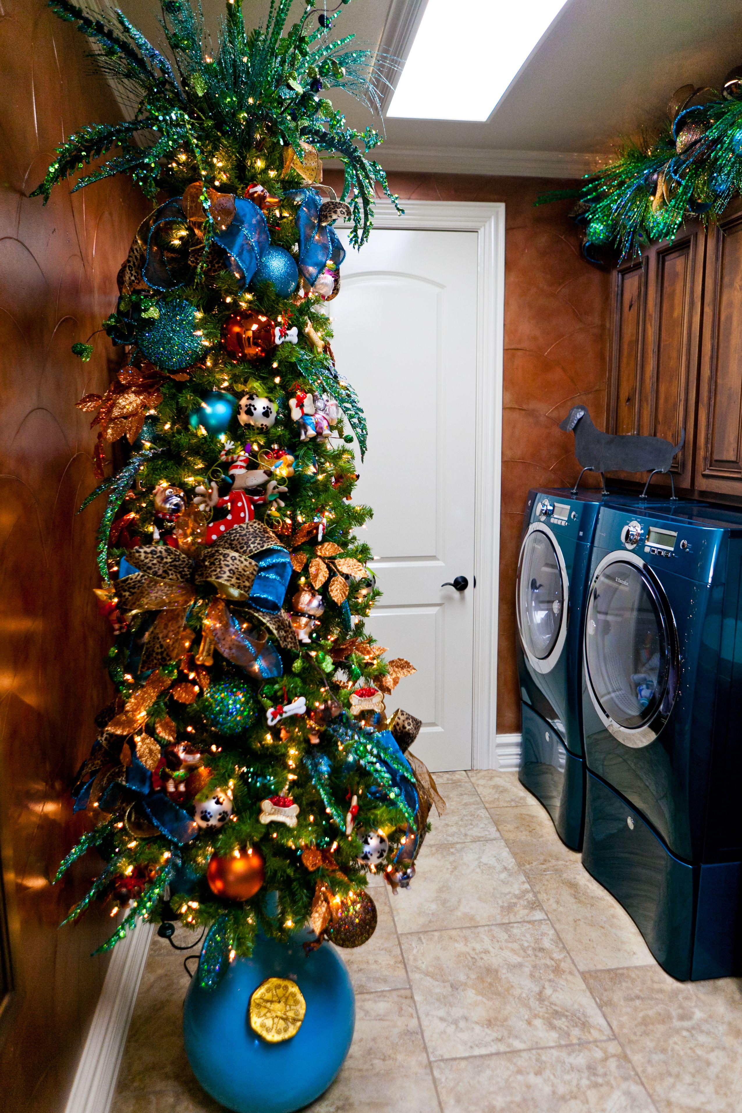 Peacock Themed Christmas Tree Laundry Room Decorated For Christmas Turquoise Christmas Decor Turquoise Green And Gold Christmas Tree Themes Slim Christmas Tree Gold Christmas Tree