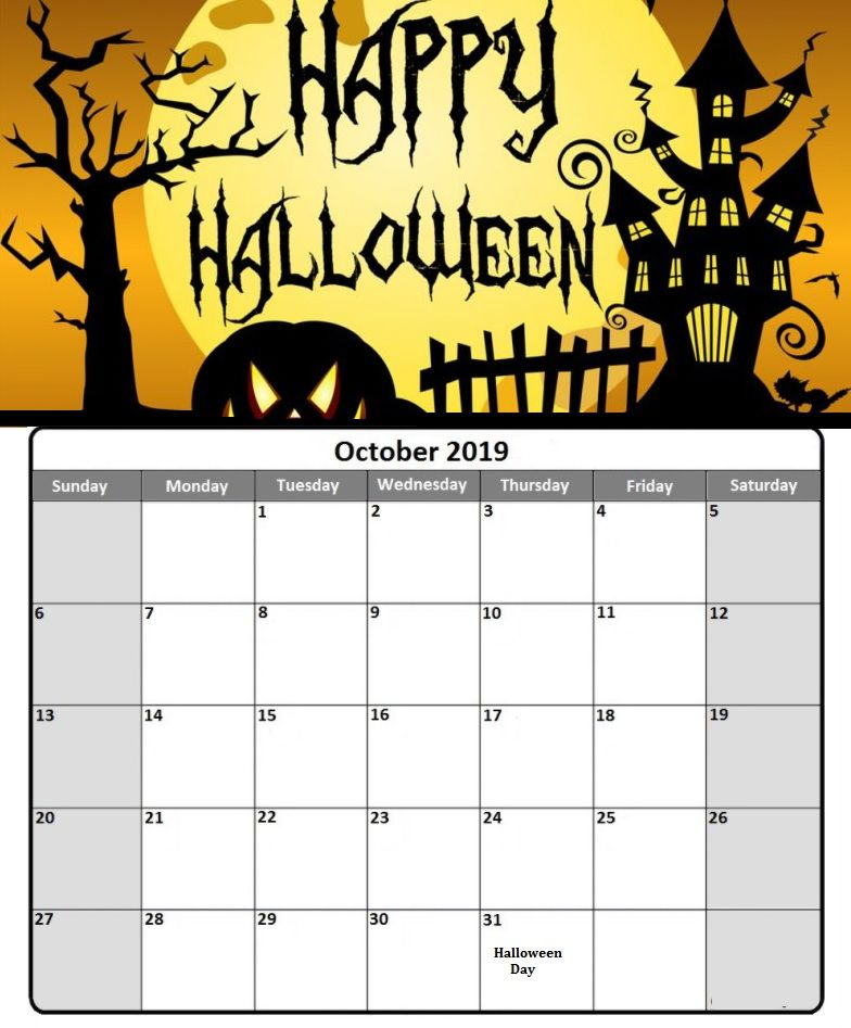 Halloween 2019 Calendar October 2019 Halloween Wall Calendar The calendar design , for 3