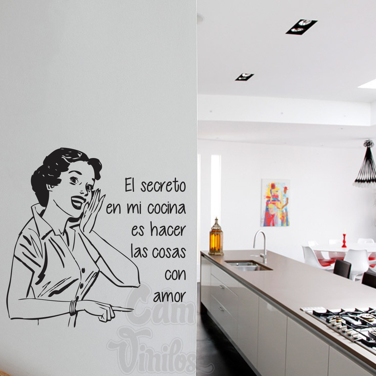 Vinilo Decorativo Pared Vinilo Decorativo Cocina Secreto Pared Retro Mujer Resto