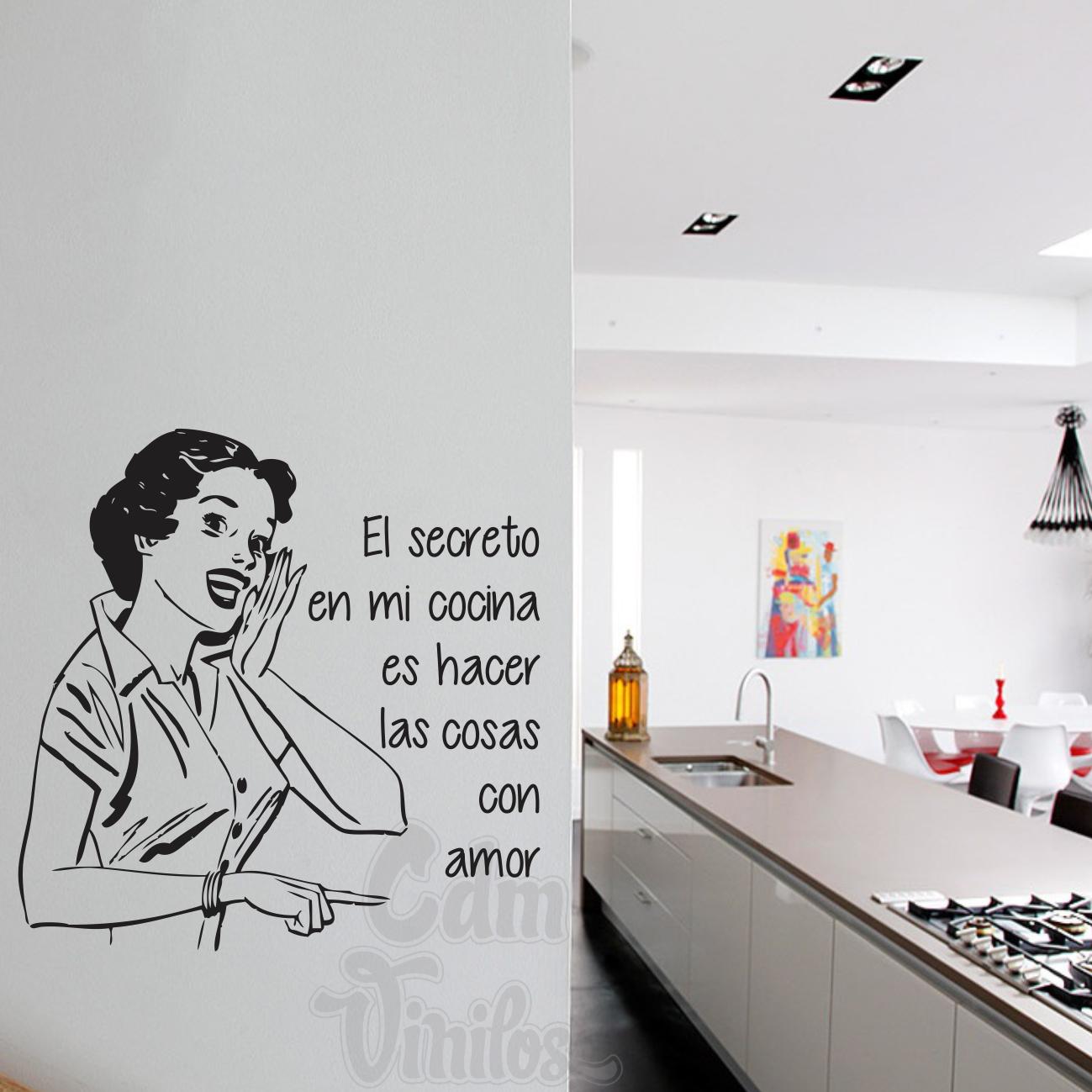 Vinilo decorativo cocina secreto pared retro mujer resto pinterest - Pegatinas para cocina ...