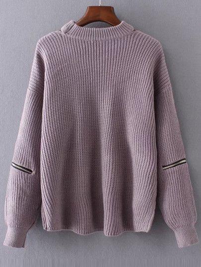 Choker V Neck Drop Shoulder Sweater -SheIn(Sheinside)  e81e42704a69