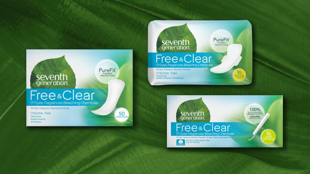 Seventh Generation Free & Clear Pads and Tampons | Package