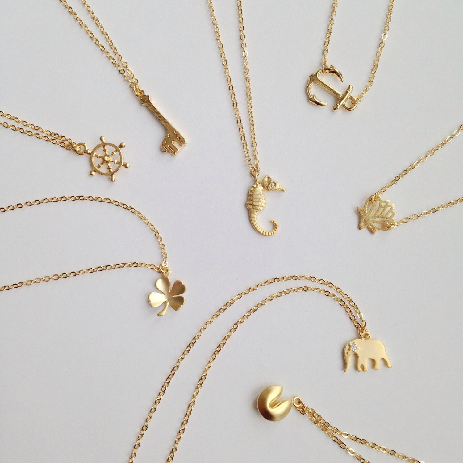 Delicate Minimal Gold Necklace choose your simple pendant