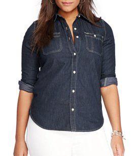 75abe6f9a7a Lauren Ralph Lauren Plus Denim Pocket Shirt