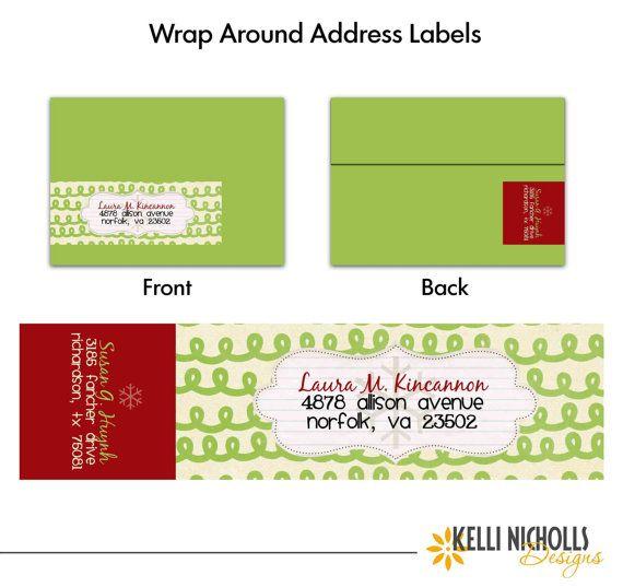 Mod Christmas Wrap Around Address Label Template