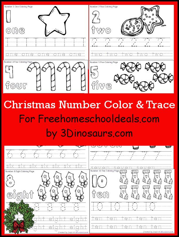 Free Christmas Number Color & Trace - 3Dinosaurs.com | Kids ...