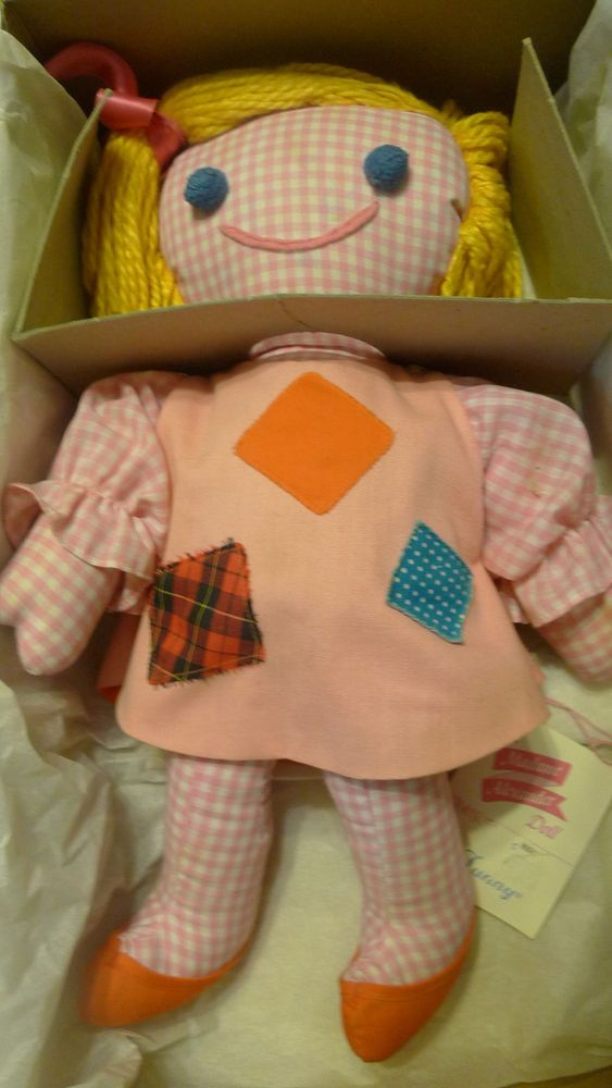 Vintage Madame Alexander Funny Pink Checkered Rag Cloth