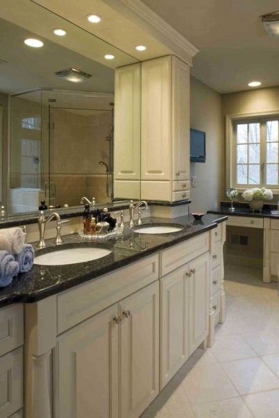 Bathroom Remodel White Cabs And Tile With Black Granite