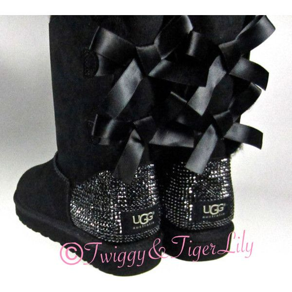 Black UGG boots with REAL Swarovski Crystal Bling rhinestone Bailey... ($450) ❤ liked on Polyvore featuring shoes, boots, rhinestone studded boots, ...