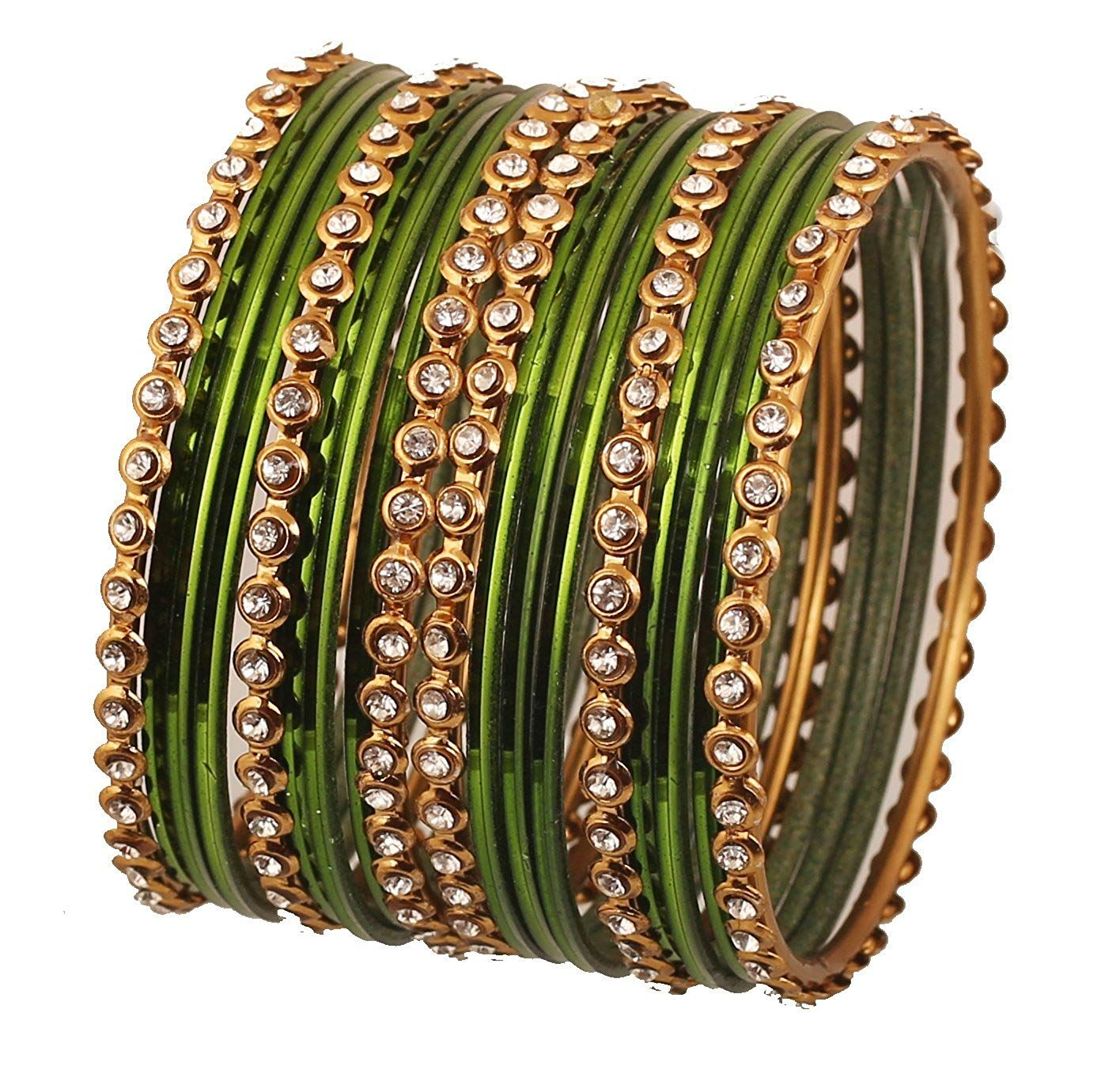 f808957e2 Touchstone 'Colorful Bangle Collection Indian Bollywood Alloy Metal and  Textured Henna Green Color Wrist Beautifier