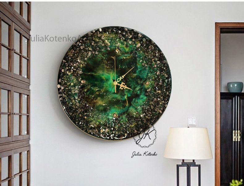 Large Wall Clock Green Clock Modern Wall Clock Resin Painting Oversized Wall Clock Wall Art Clock Large Wall Clock Oversized Wall Clock Wall Clock Modern