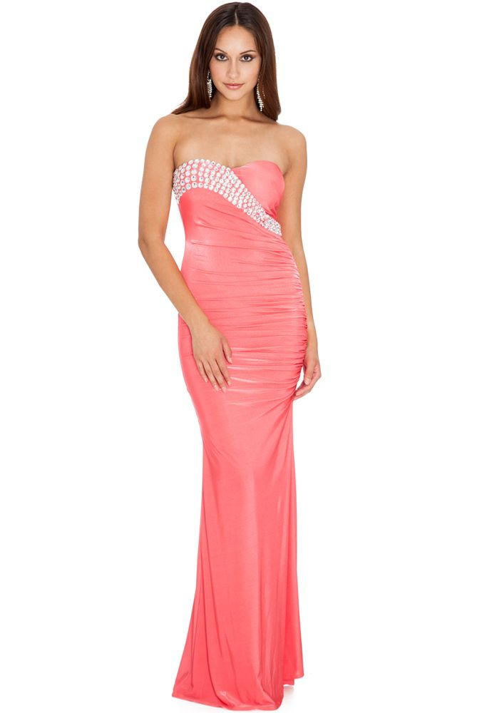 50a78bd27b Coral Pink Diamante Glam Evening Maxi Dress br  del RRP £70  del ...