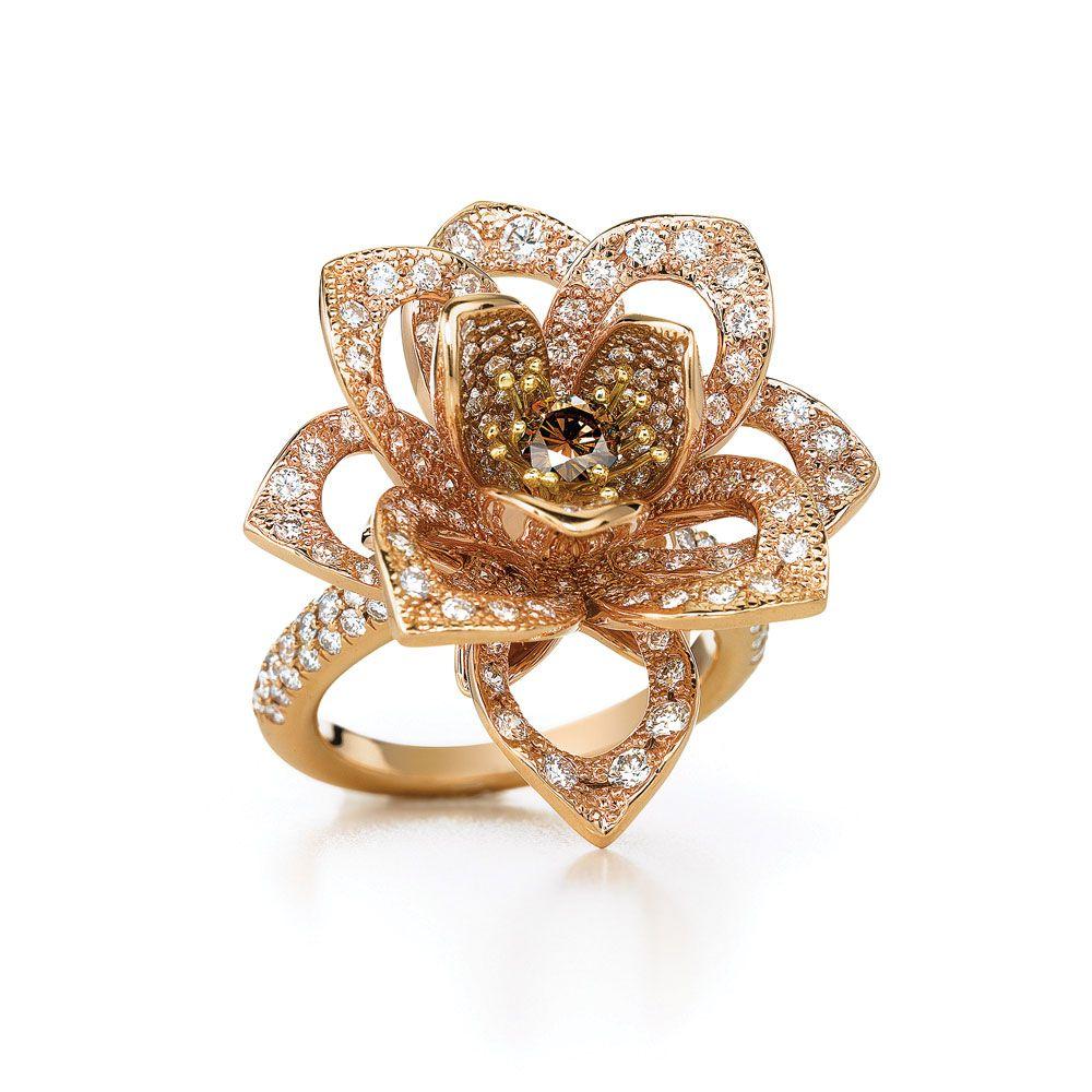 Diamond lotus flower ring style 17825 metal 18 karat rose gold diamond lotus flower ring style 17825 metal 18 karat rose gold carat izmirmasajfo Choice Image