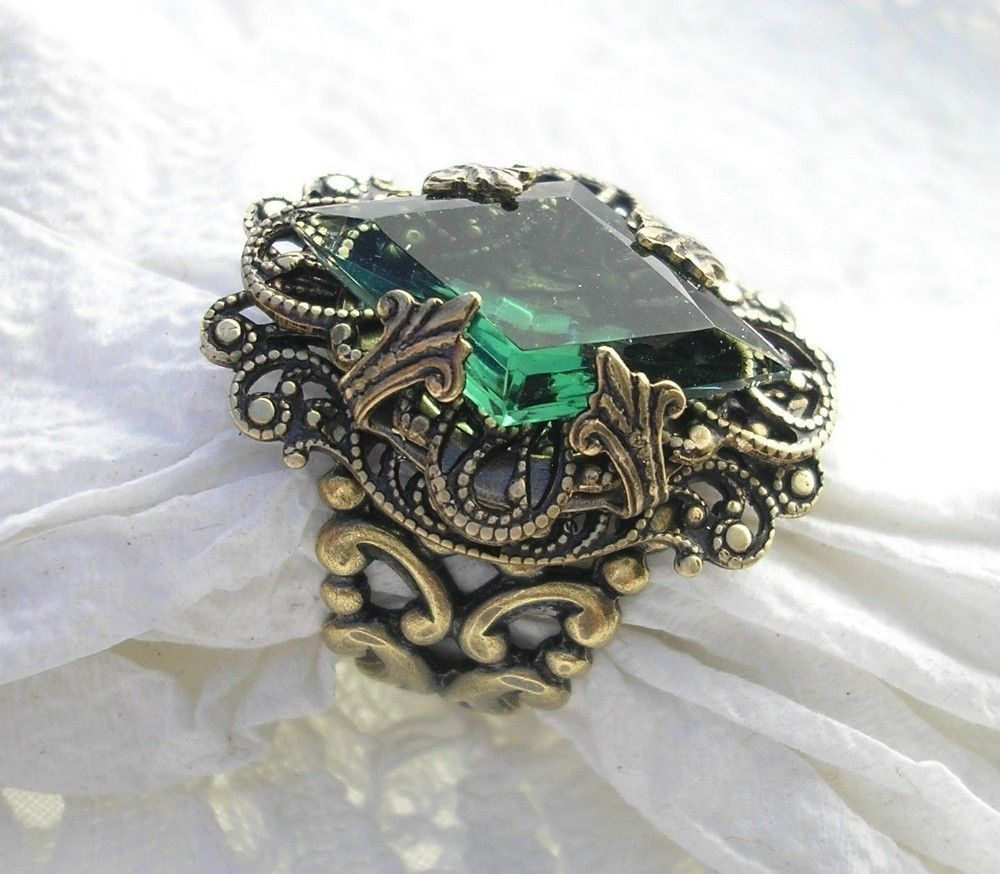 Whispering Pines - Vintage Tourmaline Glass and Antiqued Brass Ring.