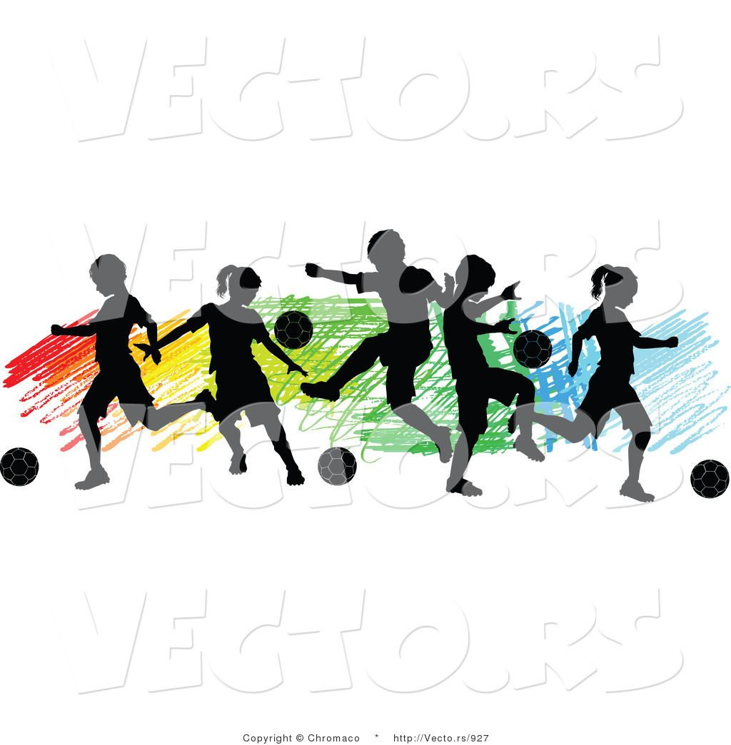 high resolution royalty free vector graphic of a children playing soccer over colorful background silhouette this soccer stock image was designed and