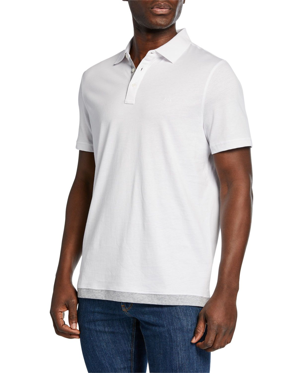 00ebfc5d MICHAEL KORS MEN'S CONTRAST HEM COTTON POLO SHIRT. #michaelkors #cloth