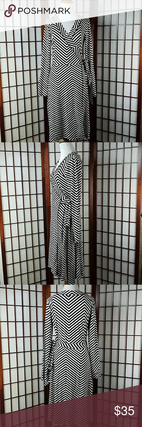 Banana republic striped long sleeve wrap dress wrap dresses